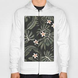 Tropical vintage plumeria flower, strelitzia, palm leaves, monstera leaves Hawaiian floral seamless pattern black background. Exotic jungle night wallpaper. Hoody