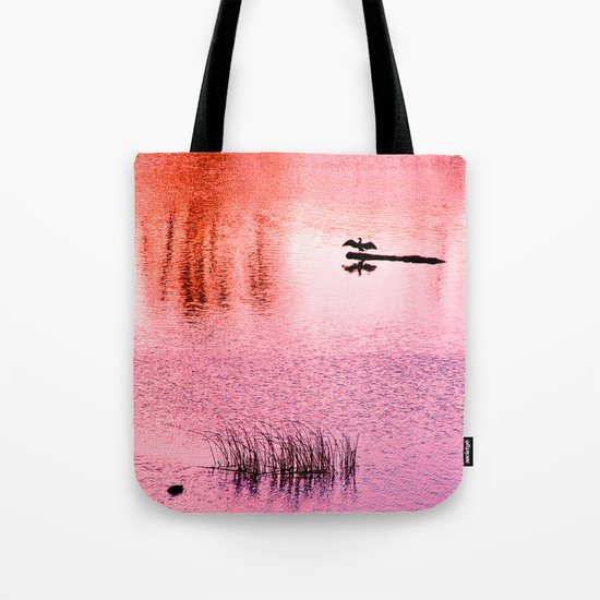 Ripples, reed, reflections,red Tote Bag