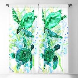 Sea Turtles Underwater Scene Turquoise Blue design, bright blue green design Blackout Curtain