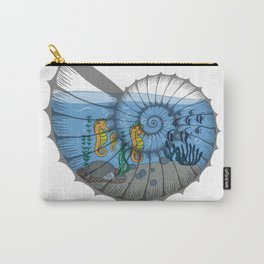 Ocean Life in a shell, sea life, sea horses family, snail shell art Carry-All Pouch