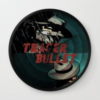 calvin and hobbes Wall Clocks featuring Calvin & Hobbes: Tracer Bullet Alternate by Gallery 94