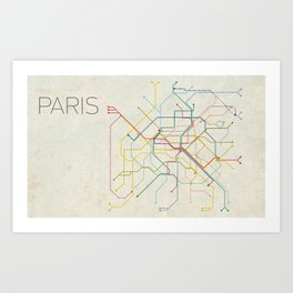 Minimal Paris Subway Map Art Print