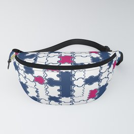 Abstract blue red pattern 2 Fanny Pack