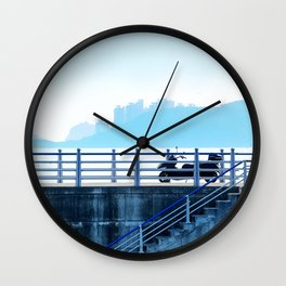 Faded blue landscape Wall Clock