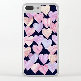 Pink Love Hearts on Navy Clear iPhone Case