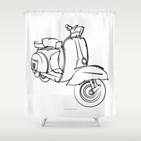 vespa Shower Curtains featuring Vespa by tuditees