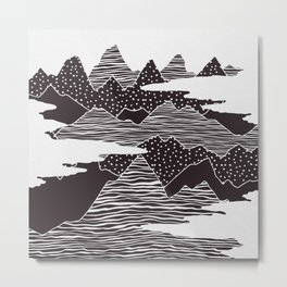 Mountain Peaks Digital Art Metal Print