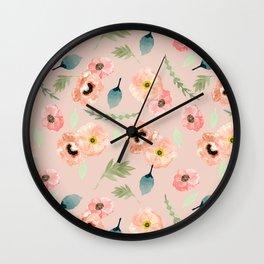 Icelandic Poppies Pattern Wall Clock