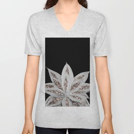 Gray Agave with Rose Gold Glitter #2 #shiny #tropical #decor #art #society6 Unisex V-Neck