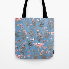 Flowers on Blue! Tote Bag