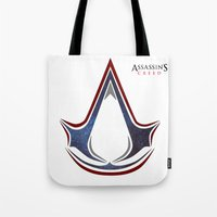 assassins creed Tote Bags featuring Assassins Creed - Space by Fatih