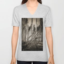 Fallen Trees After Storm Victoria February 2020 Möhne Forest 2 sepia Unisex V-Neck