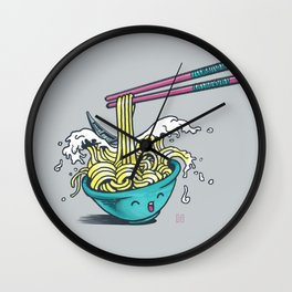 The Great Wave of Noodles with chopstick Wall Clock