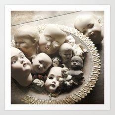 Rucus Studio Antique Doll Heads Art Print