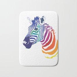 Rainbow Zebra Colorful Animal Bath Mat