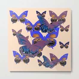 BLUE-PUCE PURPLE  BUTTERFLIES  CREAM COLOR ART Metal Print