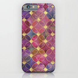 Informe Abstracta Burgundy Abstract Pattern Golden Rings Design iPhone Case
