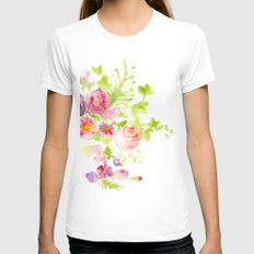 Floral Card LARGE Womens Fitted Tee White