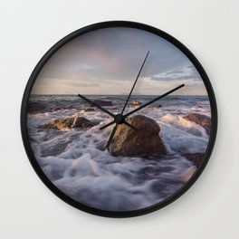 Seascape at sunset Wall Clock