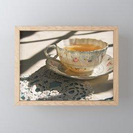 Tea Cup on Lace Framed Mini Art Print