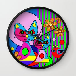 Picasso's cats, colourful modern art  Wall Clock