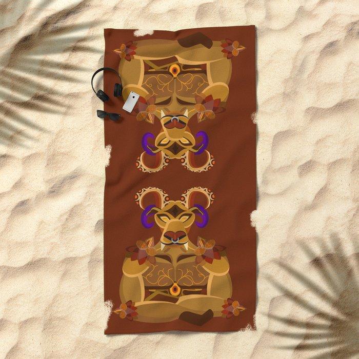 Ifrit half body vector fanart Beach Towel