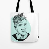 david lynch Tote Bags featuring David Lynch by Ruth Hannah