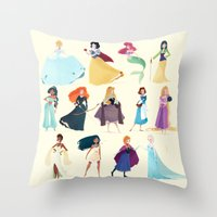 princess Throw Pillows featuring Princess by Chabe Escalante