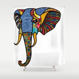 Primary Tribal Elephant Shower Curtain