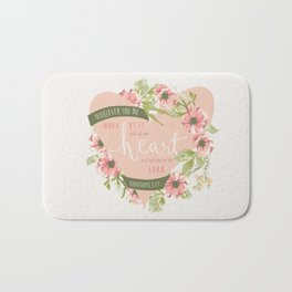 """All Your Heart"" Floral Bible Verse Print Bath Mat"