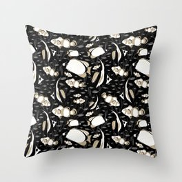 Tropical Angelfish Black White Pattern Throw Pillow