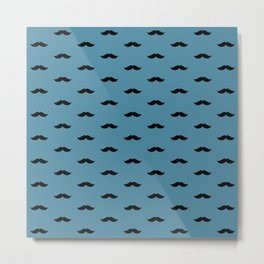 Black Mustache pattern on blue background Metal Print