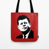 jfk Tote Bags featuring JFK Poster by Steve Lovelace