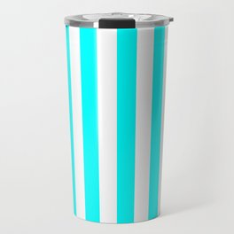 Narrow Vertical Stripes - White and Aqua Cyan Travel Mug