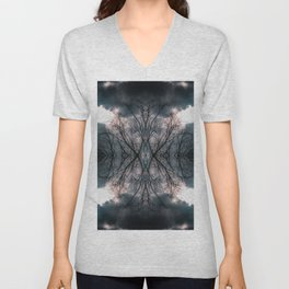 Tree and clouds, mirrored Unisex V-Neck