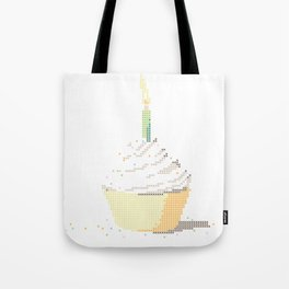 Happy Birthday Cupcake in a Real Cross Stitch Pattern - Color Coded Chart - Wearable Fiber Art Patte Tote Bag