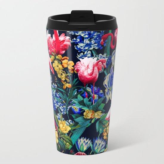 Floral and Flemingo V Pattern Metal Travel Mug