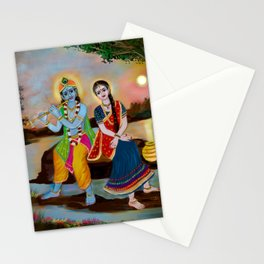 lord krishna and radha seating river Stationery Cards