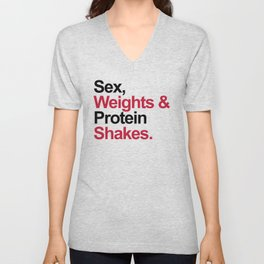 Protein Shakes Gym Quote Unisex V-Neck