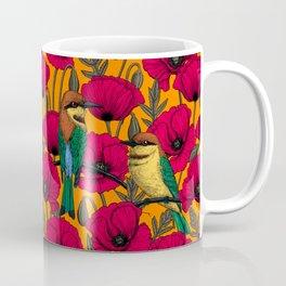 Bee eaters and poppies on orange Coffee Mug