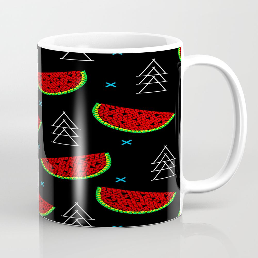 Mosaic Watermelon On Black Tea Cup by Innapoka MUG7992477