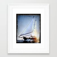 sailboat Framed Art Prints featuring sailboat by laika in cosmos