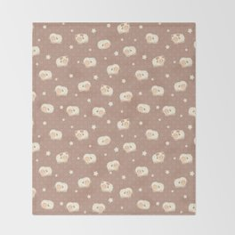 Cute Little Sheep on Brown Throw Blanket