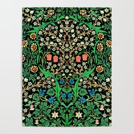 William Morris Jacobean Floral, Black Background Poster