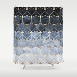 Blue Hexagons And Diamonds Shower Curtain
