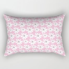 Daisies In The Summer Breeze - Pink Grey White Rectangular Pillow