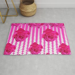ABSTRACTED CERISE PINK ROSES GARDEN ART Rug