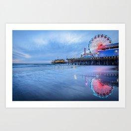 Santa Monica Pier Sunset Califorina Los Angeles Beach Landscape Art Print
