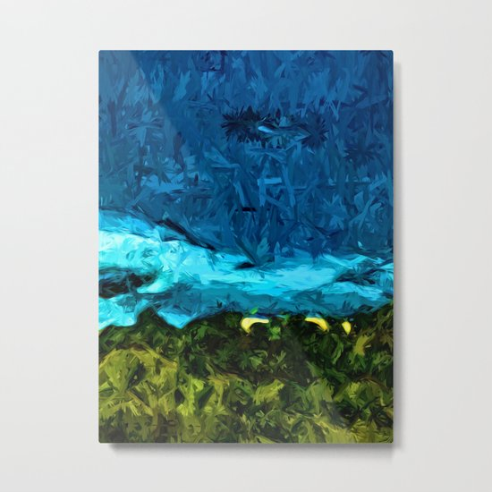 Blue Sea with Turquoise Waves and Green Grass Metal Print