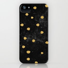 Gold Dots on Black Space Pattern iPhone Case